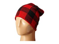 Plush Fleece Lined Plaid Beanie Black Red Beanies