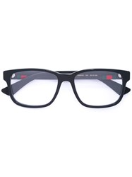 Gucci Eyewear Web Trim Rectangle Glasses Men Acetate Rubber 55 Black