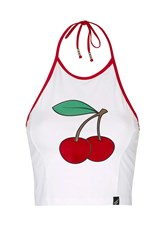 Cherry Halter Crop Top By Illustrated People White