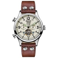 Ingersoll Men's The Armstrong Automatic Chronograph Day Date Leather Strap Watch Brown White