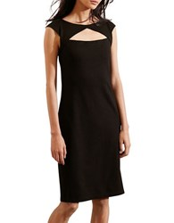 Lauren Ralph Lauren Petite Ponte Cutout Cap Sleeve Dress Black