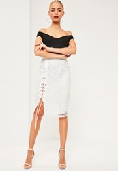 Missguided White Lace Eyelet Lace Up Midi Skirt