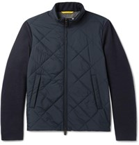 Canali Quilted Shell And Wool Jacket Navy