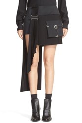 Anthony Vaccarello Cargo Pocket Side Pleat Miniskirt Black