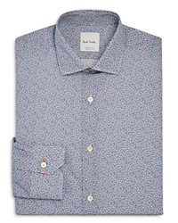 Paul Smith Micro Floral Slim Fit Dress Shirt Blue