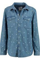 Zoe Karssen Printed Denim Shirt Blue