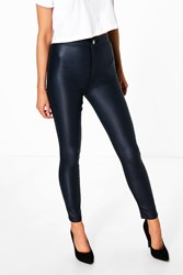 Boohoo High Rise Coated Skinny Jeans Navy