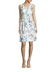 David Meister Embroidered Floral Dress White Multicolor