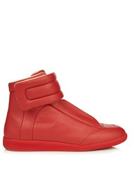 Maison Martin Margiela Future High Top Leather Trainers Red