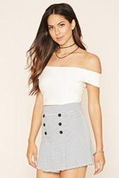 Forever 21 Buttoned Striped Skirt White Black