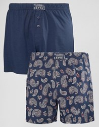 Esprit Boxers 2 Pack In Paisley Navy