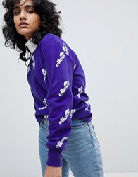Ellesse Oversized Sweatshirt With All Over Logo Purple