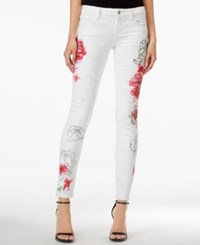 Guess Flower Power Open Wash Skinny Jeans White Floral