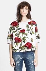 Dolcegabbana Rose Print Short Sleeve Brocade Sweatshirt White Red
