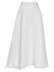 Thierry Colson Ikat Chanderi Badla Embroidery A Line Skirt White Silver