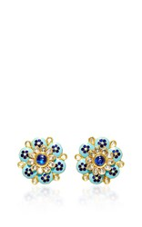 Amrapali 18K Gold Enamel Detailed Diamonds And Kyanite Flower Earrings Multi
