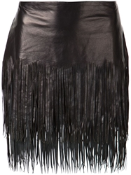 Blk Dnm Fringed Skirt