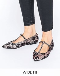 Asos Long Life Wide Fit Pointed Ballet Flats Lace Multi