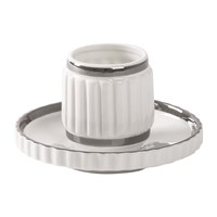 Diesel Living With Seletti Machine Collection Coffee Cup And Saucer Design 2 Silver