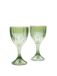 Luisa Beccaria Set Of Two Prestige Wine Glasses Green