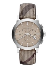Burberry Check Stainless Steel Chronograph Watch Stainless Steel Smoke