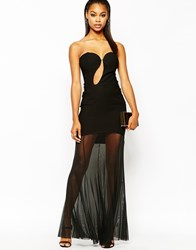 Rare Cut Out Maxi Dress With Sheer Skirt Black
