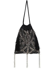 Attico Embellished Art Deco Drawstring Clutch Black Silver