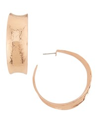 Hammered Rose Gold Plated Hoop Earrings Nest Jewelry