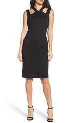 Fraiche By J Drop Strap Sheath Dress Black