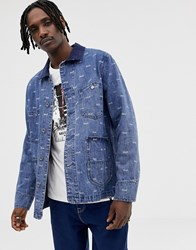 Huf Domestic Denim Jacket With All Over Logo Print Blue