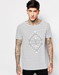 Asos T Shirt With Boat Neck In Aztec Stripe Design White