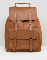 Asos Leather Backpack In Tan With Front Pockets Tan