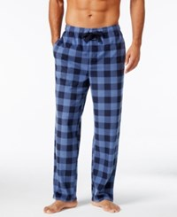 Perry Ellis Men's Buffalo Plaid Fleece Pajama Pants Light Blue Navy