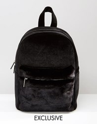 Skinnydip Exclusive Velvet Backpack With Faux Fur Contrast Pocket Black