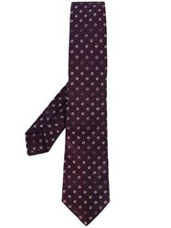 Kiton Floral Print Tie Men Silk One Size Pink Purple