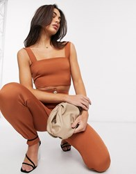 Vesper Crop Top Co Ord In Brown