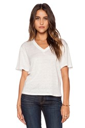 Heather Linen V Neck Top White