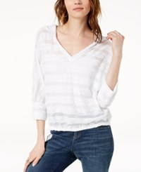 Inc International Concepts I.N.C. Striped Popover Hoodie Created For Macy's Bright White