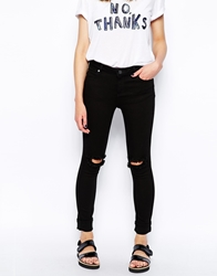 Whistles Skinny Jeans With Ripped Knee Black
