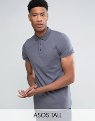 Asos Tall T Shirt With Roll Sleeve In Washed Blue Eel