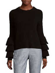 Cashmere Saks Fifth Avenue Ribbed Tier Sleeve Sweater Flannel