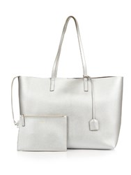 Saint Laurent Large Leather Tote Silver