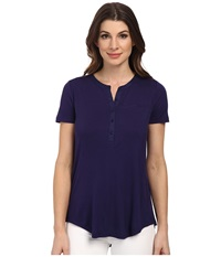 Nydj Pleat Back Knit Top Midnight Women's T Shirt Navy