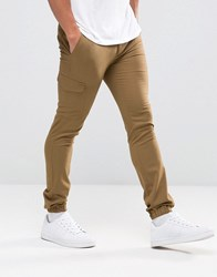 Asos Super Skinny Smart Joggers With Cargo Pockets Brown Green
