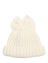 Federica Moretti Ribbed Wool Hat W Bow