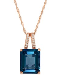 Macy's Blue Topaz 4 Ct. T.W. And Diamond Accent Pendant Necklace In 14K Rose Gold