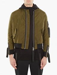 Matthew Miller Olive Nylon 'Kane' Flight Bomber Jacket