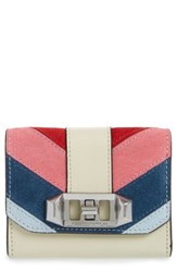 Rebecca Minkoff Love Lock Suede And Leather Wallet Pink Pink Multi