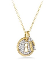 David Yurman Cable Collectibles Lock And Key Charm Necklace With Diamonds In Gold