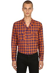 Etro Houndstooth Cotton Jacquard Pajama Shirt Orange Purple